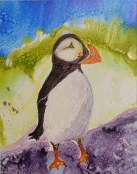 Maine Puffin - Alcohol Ink on Yupo