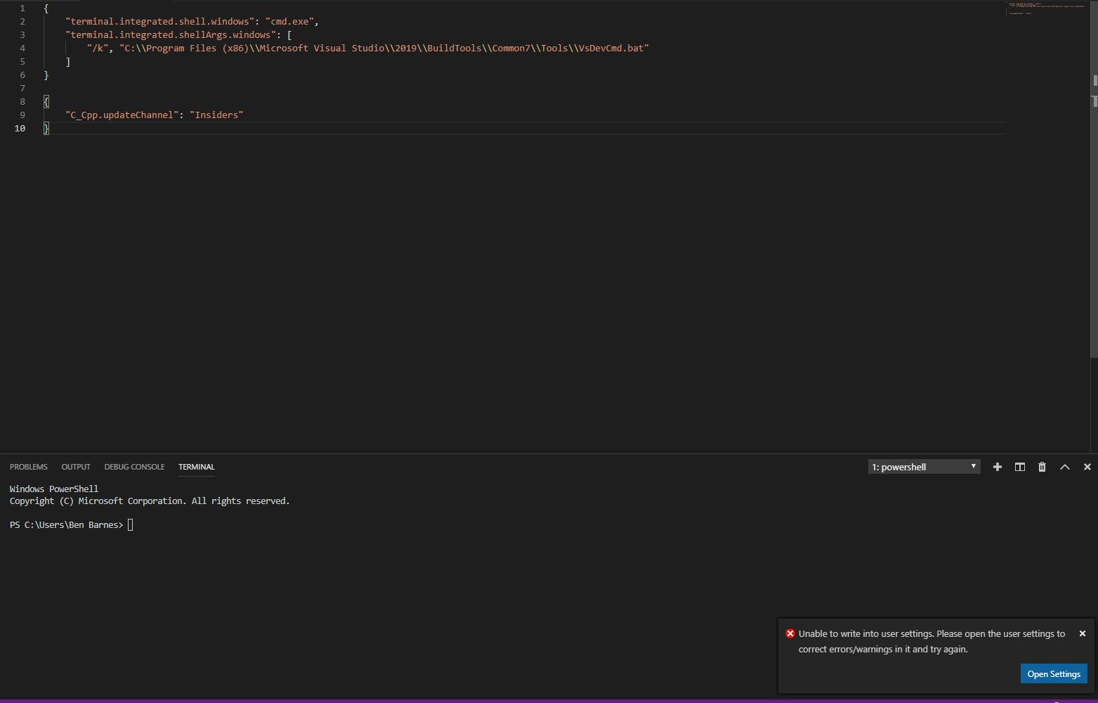 Visual Studio Code: Terminal staying Powershell instead of